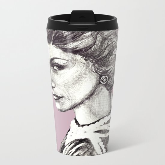 Coco portrait with pearls Metal Travel Mug