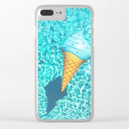 blue ice cream cone float all up in my pool yo Clear iPhone Case