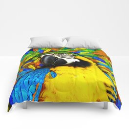 Gold and Blue Macaw Parrot Fantasy Comforters