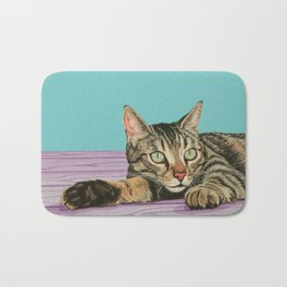Stunning Tabby Cat Painting, Tabby Cat Portrait, Painting of a Gorgeous Striped Cat Bath Mat