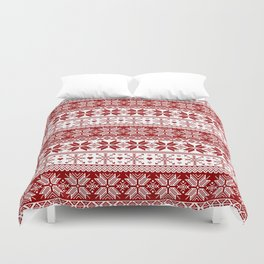 Red Winter Fair Isle Pattern Duvet Cover