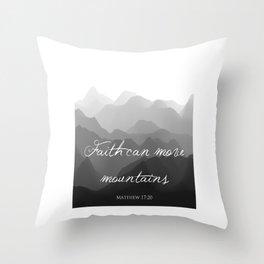Faith Can Move Mountains Religious Bible Verse Art - Matthew 17:20 Throw Pillow