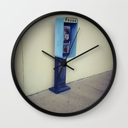 Vintage Pay Phone Photograph Wall Clock