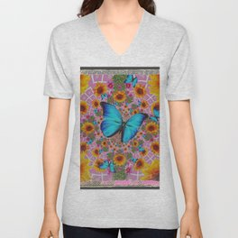 GRUNGY SUNFLOWER & BLUE BUTTERFLIES  PINK PATTERN Unisex V-Neck