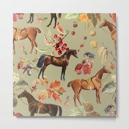 AUTUMN HORSES - Sage green  Metal Print