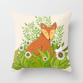 Fox in the Daisies Throw Pillow