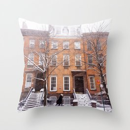 Snowy NYC Brownstone Street Throw Pillow