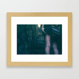 walking up the stairs. Framed Art Print