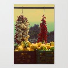 Garlic, Peppers & Lemons in Amalfi, Italy Canvas Print