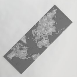 Dark gray watercolor world map with cities, square Yoga Mat