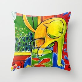 Henri Matisse - Le Chat Aux Poissons Rouges 1914, (The Cat With Red Fishes) Artwork Throw Pillow