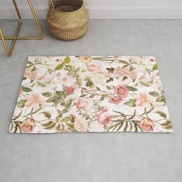 Vintage & Shabby Chic - Pink Sepia Summer Flowers Rug