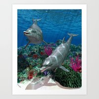 dolphins Art Prints featuring Dolphins by Simone Gatterwe