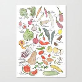 ABC fruit & vegetables Canvas Print