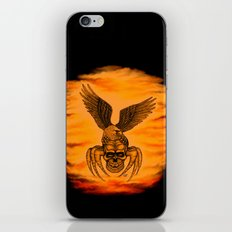 Spider Skull and Eagle in Tattoo Style , Black Red Yellow design iPhone & iPod Skin