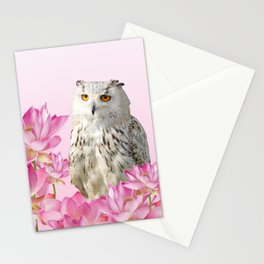 Grey Owl Lotos Flower Blossoms #lotus #owl Stationery Cards