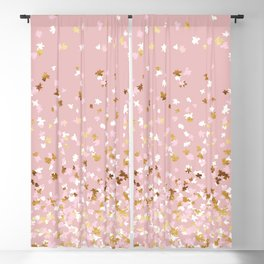 Floating Confetti - Pink Blush and Gold Blackout Curtain