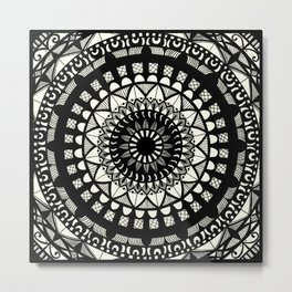 Black on cream mandala Metal Print