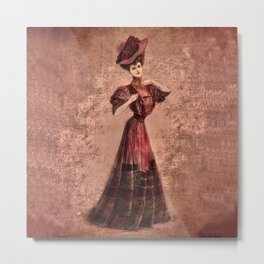 Woman in red Edwardian Era in Fashion Metal Print