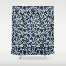 Ballpoint Pattern in Indigo Shower Curtain