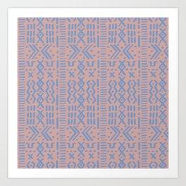 Mudcloth No. 1 in Blush + Dusty Blue Art Print