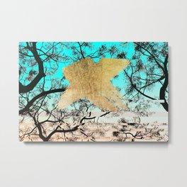 Modern tree sky blue gold brushstroke photography glitch Metal Print