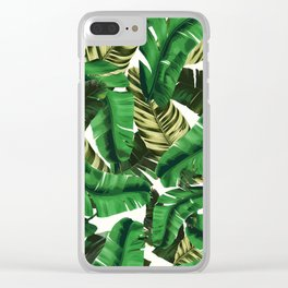 Swaying banana leaf palm green Clear iPhone Case