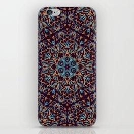 Brown and blue geometric Mandala Rich ornament iPhone Skin