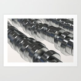 Pattern of brushed metal cylinders Art Print
