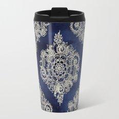 Cream Floral Moroccan Pattern on Deep Indigo Ink Travel Mug