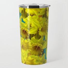 YELLOW SPRING DAFFODILS ON TEAL COLOR ART Travel Mug