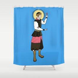 Patron Saint of Tiny Fat Birds Shower Curtain
