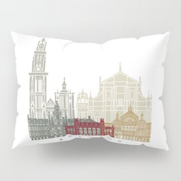 Antwerp skyline poster linear style with rainbow Pillow Sham