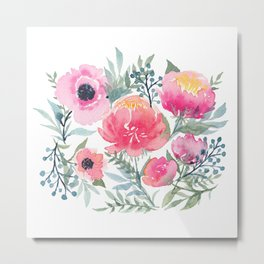 Peony and Poppy Flower Bouquet Metal Print
