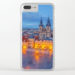 Prague old town square and church of Mother of God before Tyn in Prague, Czech Republic. Clear iPhone Case