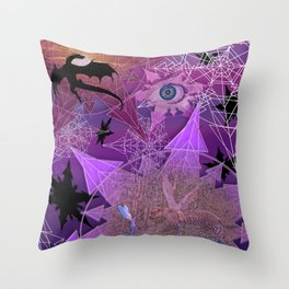 Snowflakes and Dragons Throw Pillow