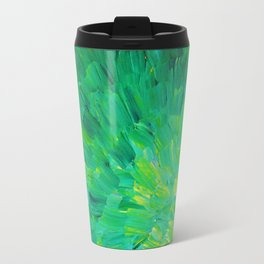 SEA SCALES in GREEN - Bright Green Ocean Waves Beach Mermaid Fins Scales Abstract Acrylic Painting Travel Mug