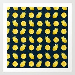 Watercolor Lemon Pattern Art Print