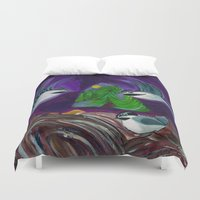 bigfoot Duvet Covers featuring Sleeping Bigfoot by liza salmon