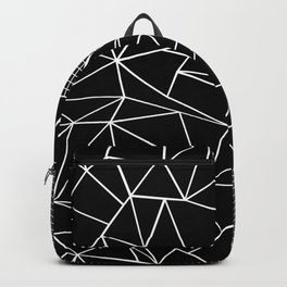 Abstract Grid Outline White on Black on Side Backpack