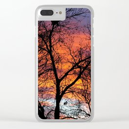 Winter Tree Sunset Clear iPhone Case