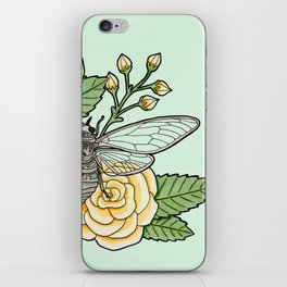 Cicada with Roses - Mint iPhone Skin