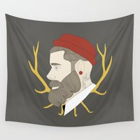 hipster Wall Tapestries featuring Hipster by Cécile Pellerin