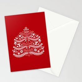 Scandinavian Folk Art Christmas Tree Stationery Cards