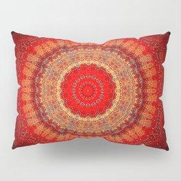 Vibrant Red Gold and black Mandala Pillow Sham