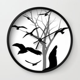 Flying Crow Wall Clock