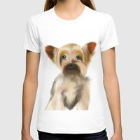 yorkie T-shirts featuring Yorkie Puppy on White  by barefoot art online