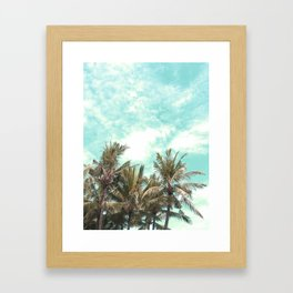Wild and Free Vintage Palm Trees - Kaki and Turquoise Framed Art Print