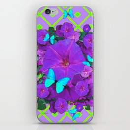 Turquoise Butterflies Purple Green Pattern Floral iPhone Skin
