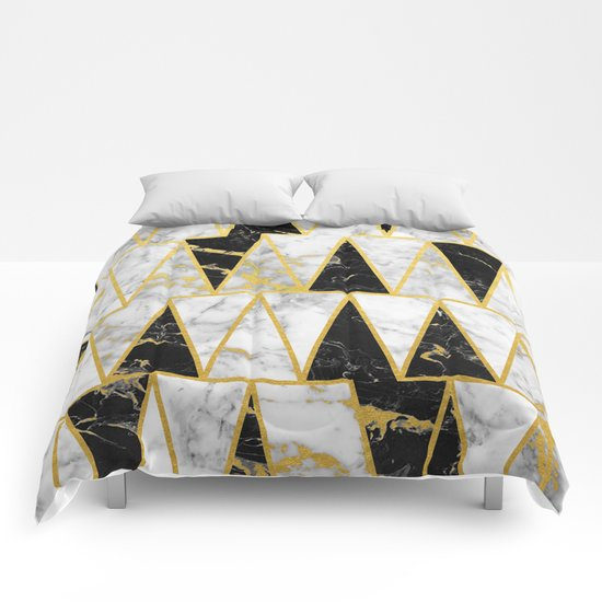 Mixed marble triangles gold flecked black white for Black and white marble bedding